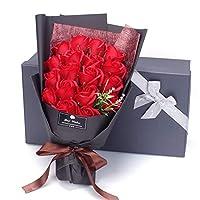 Demiawaking ソープフラワー 花束 造花 石鹼花 石鹼フラワー プレゼント 母の日 開店祝い 誕生日 記念日 お見舞い 感謝 お礼 ギフトボックス 18本の花 レッド