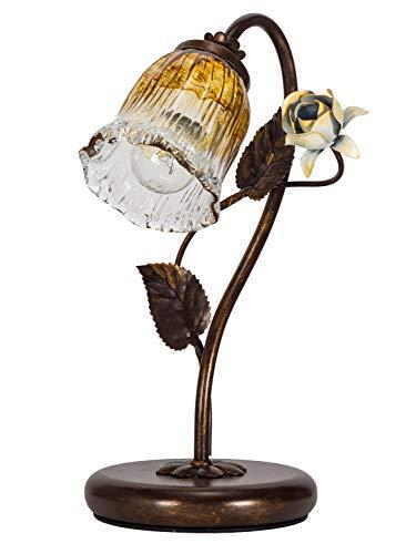 Helios Leuchten 403757/1 Florentiner Tischleuchte Tischlampe | Blüten chabby chic | Florale Lampe Leuchte Kronleuchter Landhausstil | 1 x E14