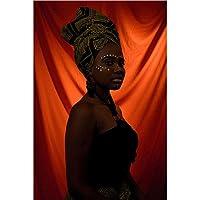 """キャンバスプリントアフリカの黒人女性肖像画絵画壁アート非編まれたポスターリビングルーム寝室の家の装飾15.7"""" x23.6""""(40x60cm)フレームレス"""
