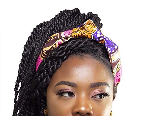 Multi Color Vibrant Metallic Print Headband | Afro Headband | African Print Headband | Afrocentric Head Piece| Purple, Pink, Metallic Gold, Orange | Cloth & Cord