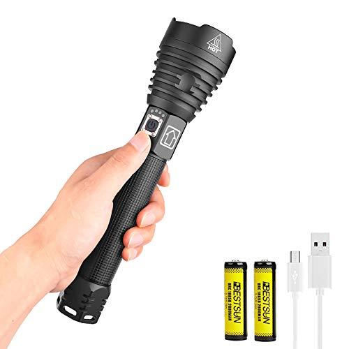 XHP90 Linterna LED Recargable Alta Potencia Linternas USB Zoomable, LUXNOVAQ 10000 Lumen Torches Flashlight Tactical Luz Linterna de Mano Grande Impermeable con 2 Baterías y 3 Modos para Acampada