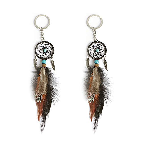 Artwell Novelty Dream Catcher Keychain Feather Leaf Beads Key Ring for Bag Hanging Ornament Best Wishes Gift (2 Pcs)