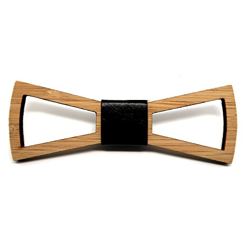 BOBIJOO Jewelry - Noeud Papillon Bois Bambou Homme Chic Naturel Design Rectangle Fait Main Cuir