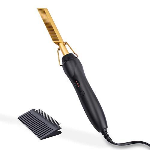 Lisseur à peigne chaud - Peigne à lisser ShunTaiwei, adapté aux cheveux et perruques afro-américains, lisseur électrique portable chauffant (or)