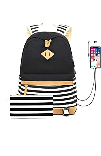 Women Backpack Laptop Fashion Travel USB Charging Bag for Teenager Girls College Student School Canvas Rucksack Casual Daypack Fit 15.6 Inch Notebook Striped Small (1-Black)