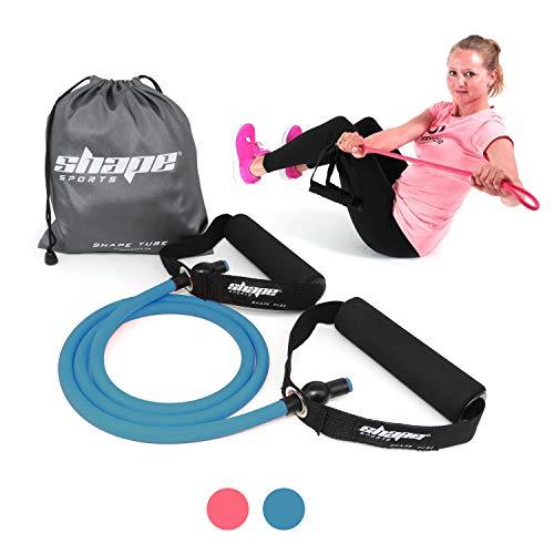 Shape Tube - Fitnesstube aus elastischem & reißfestem Material - mittlere Stärke + praktischer Transportbeutel, Bonus E-Book (blau)