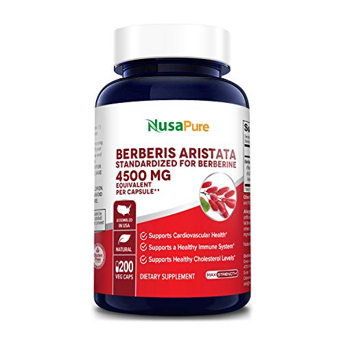 Berberine HCI 4500 mg - 200 Veggie Caps - 200 Days Supply - (100% Vegetarian, Non-GMO & Gluten-Free) Supports and maintains Healthy Blood Sugar Levels & Metabolism, Immunity and Digestion*