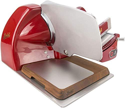 Palatina Werkstatt® Berkel Home Line 200 | affettatrice | Rosso | nuovo modello: 2020 + tagliere con acciaio inox + panno morbido per la lucidatura