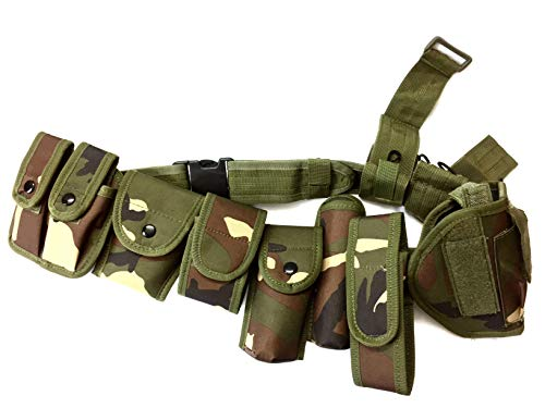 Green Camouflage Law Enforcement Modular Equipment System Security Military Tactical Duty Utility Belt (10 in 1, Adjustable 35-45 inches, Green Camouflage)