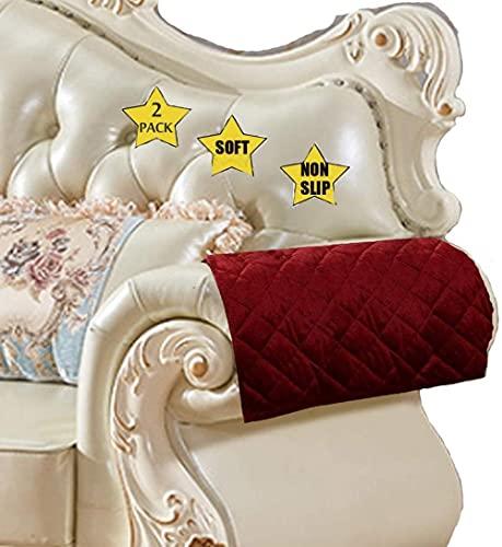 ADIS - Copribraccioli antiscivolo per divano, in pelle, trapuntati, per cani, bambini, animali domestici, venduti insieme da 2 pezzi (rosso vino, 45,7 x 50,8 cm)