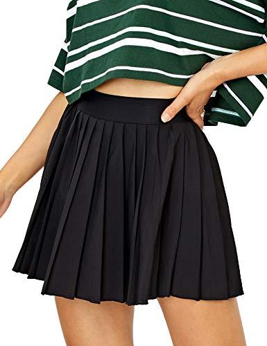 COOrun Women's Girls Mini Pleated Skirt School Skirt Uniform Skirts Black