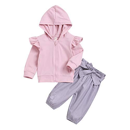 puseky Enfants bébé Fille Manches Longues à Volants à Capuche Chemise Manteau + Arc Pantalons Tenues Ensemble 2pcs