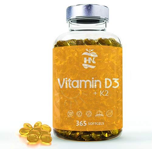 Vitamina D - 365 Cápsulas de vitamina D3 K2 – Vitamina D (5000 UI) altamente concentrada. Favorece la función inmunológica y ósea - 365 cápsulas