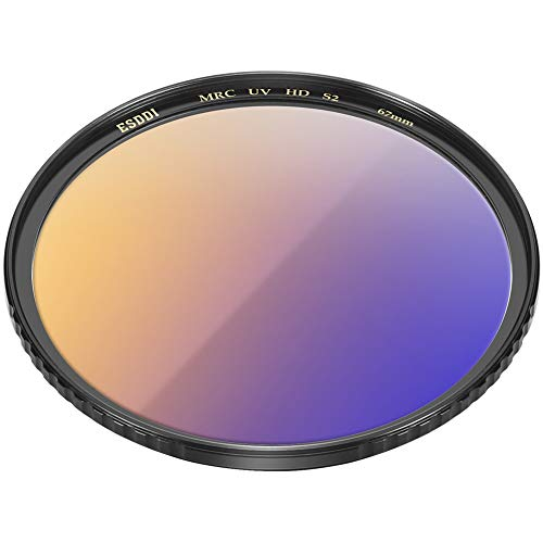 67mm UV Filter, ESDDI UV Protection Filter with Tavg≥99%, Ultra Slim 22 Layers Resistant Coating, Ultralight CNC Copper Frame, Schott B270 Optical Glass