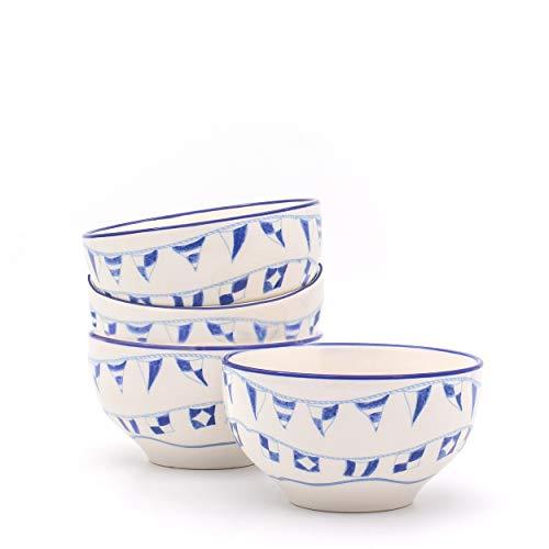 EuroCeramica 4 PieceAssorted Ahoy Cereal Bowls, Multicolor