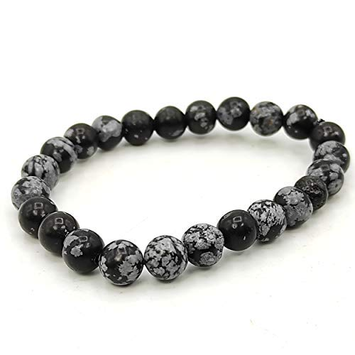 Plusvalue Snowflake Obsidian Bracelet Stone of Purity, Stylish Charm Crystal Bracelet for Men Women Boys and Girls (Beads Size: 8mm Jute Bag)