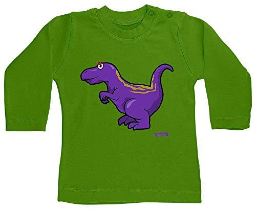 HARIZ Baby Shirt Langarm Allosaurus Dinosaurier T-Rex Tiere Plus Geschenkkarten Schnödder Lime Grün 6-12 Monate