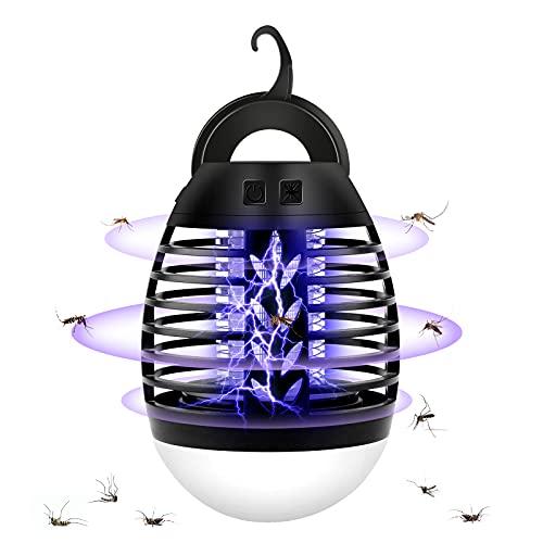 solawill Lampe Anti Moustique, 2 en 1 LED Moustique Tueur Lampe UV Tueur d Insectes Électrique Anti Insectes Répulsif IPX67 Étanche 2200mAh Portable Lumière, Non Toxique pour Intérieur et Extérieur
