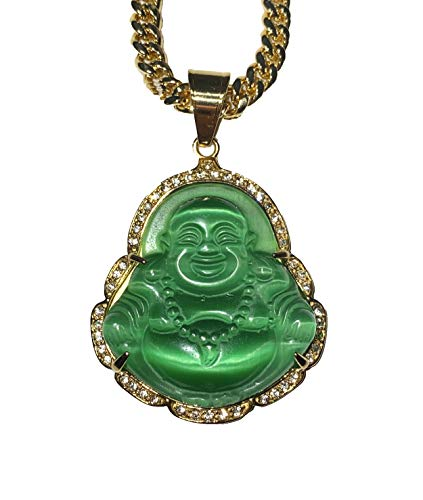 Laughing Buddha Big Green Jade Iced Diamond Pendant Necklace14k Gold Miami Cuban link 6mm Chain Genuine Certified Grade A Jadeite Jade Hand Crafted, Natural Green Obsidian Healing Statue Prayer (24.0) -  Shop-iGold