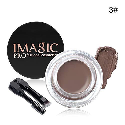 1pc mascara pour sourcils 2 en 1 maquillage durable yeux hydrofuges gel sourcils anti-bavure texture crème travail des sourcils pinceaux à maquillage à deux têtes inclus (Medium Brown)