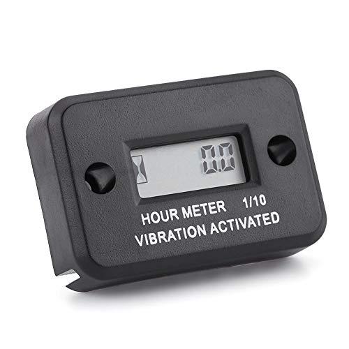 Digital Vibration Stundenzähler Gauge Wireless LCD Digitalanzeige Wasserdicht für Vibrierende Maschine Motorrad ATV Boot Marine 5 Stelliges Display (schwarz)