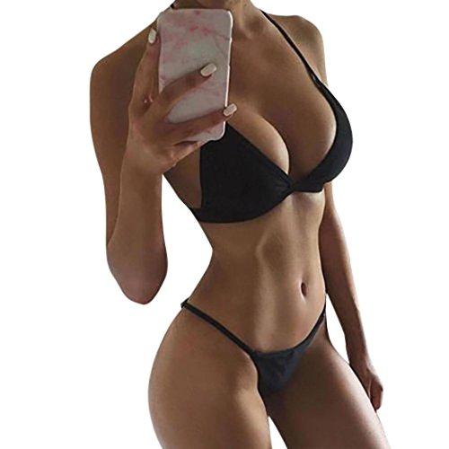 Lookatool Women's Swimwear Bikini Set Bandage Push-Up Padded Swimsuit Bathing Beachwear (Black, Cup: 30A/30B/32AA/32A/32B)