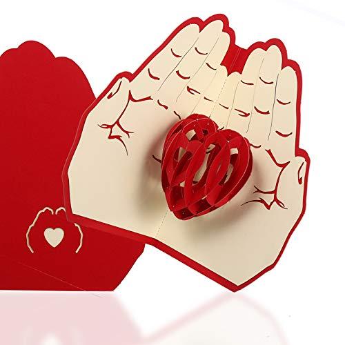 AUXSOUL Biglietti D'auguri Pop-up 3D con Amanti Romantici Sotto le Mani Cuore, Regalo Fatto a Mano per Compleanno, Matrimonio, Ringraziamento, Mamma, Moglie, Marito e Amanti