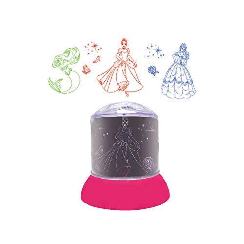 LEXIBOOK Disney Princesas-Luz Nocturna, quitamiedos con proyecciones Luminosas en el Techo, lámparita de Noche Multico Cenicienta, Bella, Ariel multicolor-NLJ030DP, Color Rosa