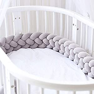 ZCXBHD Cot Bed Bumper Baby Crib Knotted Braided Soft Cot Bumper Braid Pillow for Crib Nursery 100% Velvet Cotton Braid Pillow Protector Anti Allergy