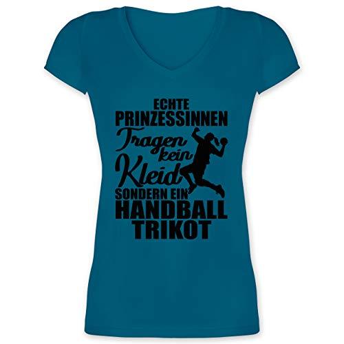 Handball - Echte Prinzessinnen tragen kein Kleid sondern EIN Handball Trikot - schwarz - XXL - Türkis - V-Neck - XO1525 - Damen T-Shirt mit V-Ausschnitt