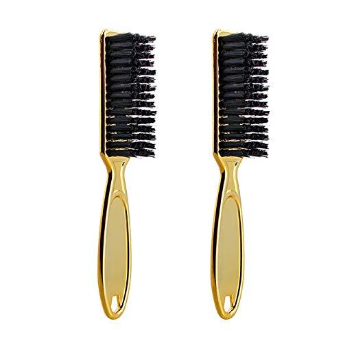 Noblik Fade Brush Peine Tijeras Cepillo de Limpieza PeluqueríA Skin Fade Vintage Oil Head Shape Tallado Cepillo de Limpieza Gold 2PC