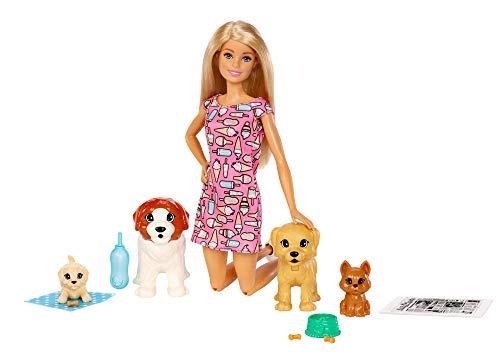 Barbie coffret poupée et ses 4 chiens, dont 2 figurines qui peuvent faire leurs besoins, accessoires inclus, jouet pour enfant, FXH08