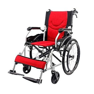 Wheelchairs Wheelchair Propelled Wheelchair Aluminium Self Propel Wheelchair?Folding Lightweight Transit Travel Comfort Wheel Chair Portable With Handbrake, Footrest, Armrest ?46cm Seat Width?20-inch