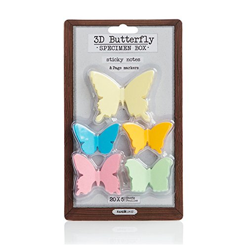 Suck UK 3D Butterfly Sticky Notes Multipack - Adhesive Paper Memo Pads