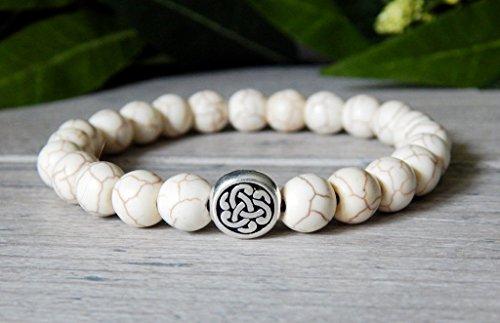 Celtic Knot Irish Welsch Mens White Beaded Classy Traditional Gemstone Bracelet
