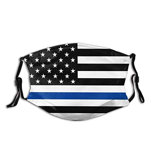 Support Police Thin Blue Line American USA Flag Cloth Face Mask with Pocket Washable Face Bandanas Balaclava Reusable Fabric Mask with Pcs Filter