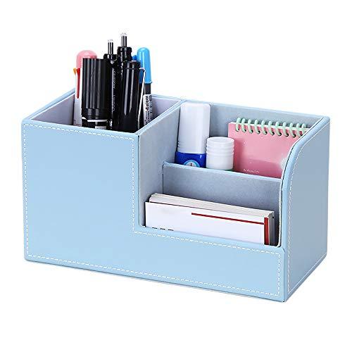 Gobesty PU Leder Schreibtisch Desk Organizer, 3 Speicherabteil Büro Schreibtisch Organizer multifunktional PU Leder Stiftebox Stifteköcher Bürobedarf für Stift/Bleistift/Handy (Himmelblau)