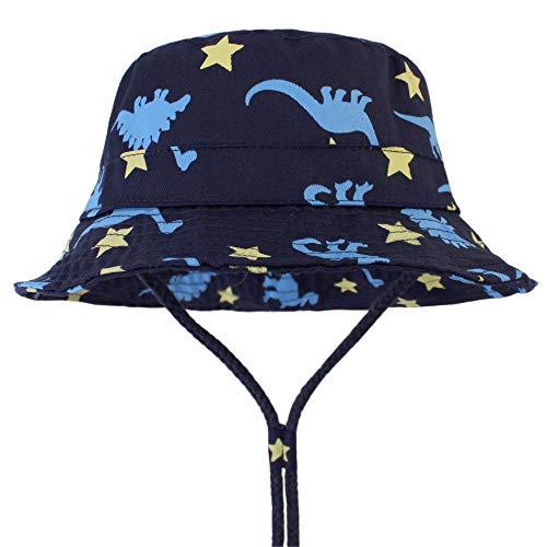 LAPOPNUT Kinder Baby Jungen Eimer Sonnenhut Dinosaurier weich 100% Baumwolle Sommer Strand Sonne Cap mit verstellbarem Kinnriemen Cartoon Dino-Hüte Gr. M , Dino and Stars