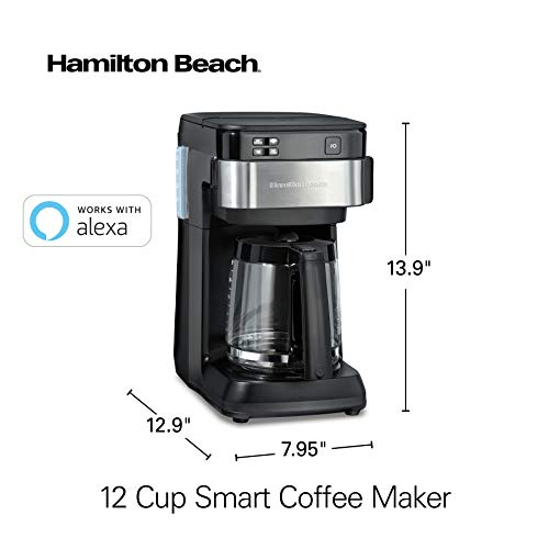 Product Image 6: Hamilton Beach Works with Alexa Smart Coffee Maker, Programmable, 12 Cup Capacity, Black and Stainless Steel (49350) – A Certified for Humans Device