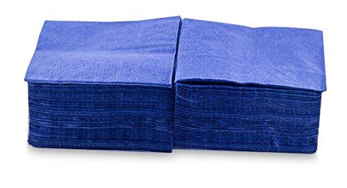 Saten ser22204592Coktail, tovagliolo 20x 20, 2strati, piegati a 1/4, 100Tovaglioli, Lisa con bordo, Blu