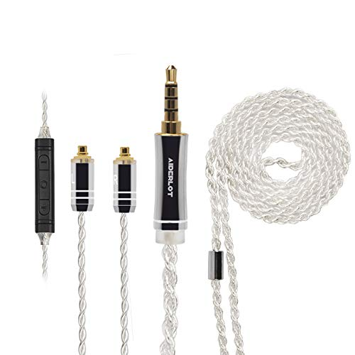AIDERLOT MMCX Cable con micrófono,MMCX Cable de auriculares desmontable,3,5 mm conector chapado en oro,Shure KZ BASN TIN FiiO Westone (MMCX-3.5MM)