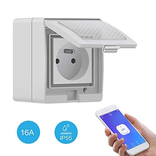 SONOFF S55 TPE-FR Prise Intelligente Extérieure 16A, Prise de Courant Connectée WiFi Étanche IP55,Compatible avec Alexa/Google Home/IFTTT,Contrôle à Distance,Commande Vocale,Fonction de Temps