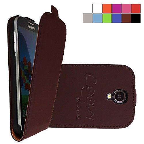 COOVY® Cover für Samsung Galaxy S4 GT-i9500 GT-i9505 GT-i9506 Slim Flip Case Tasche Etui inklusive gratis Displayschutzfolie   Farbe braun