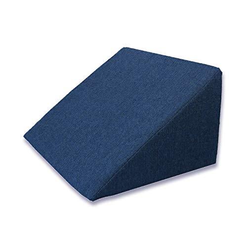 Almohada en forma de cuña, Soporte para la espalda en la cama, sala o el sofá / Almohada para leer o ver televisión Medidas: 60 x 50 cm, Altura: 30 cm - Color Azul