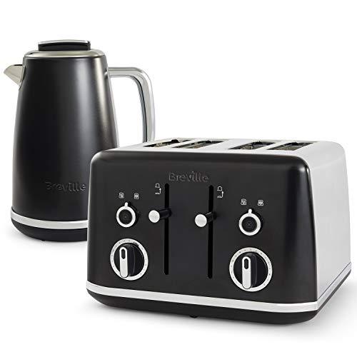Breville Lustra Kettle and Toaster Set | 1.7 Litre Electric Kettle | 4 Slice Toaster with Wide Slots and Independent 2-Slice Controls | Matt Black [VKT173 and VTT969]