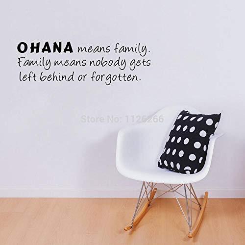 yiyiyaya Ohana Bedeutet Familienzitat Wandaufkleber Kunst Vinyl Schriftzug Worte Wandtattoo Wohnkultur19 * 58 cm