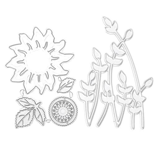 Troqueles de corte de metal girasol, moldes de plantilla de plantilla de troqueles de girasol, plantillas de relieve para álbum de fotos de álbum de recortes Deco