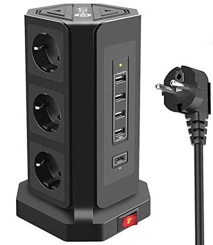 Te-Rich 18W Carga Rapida USB-C Enchufe Relgeta Vertical Torres Toma de Corriente 9 Regletas con 5 Puertos USB (1 USB-C e 4 USB-A) 3M Cable de protección contra sobrevoltaje y sobretensiones 2500W/10A