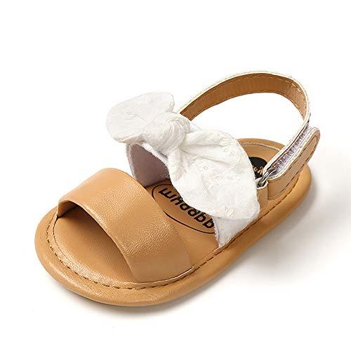 PanGa Baby Girls Sandálias de verão de algodão antiderrapante com laço e sola macia premium Sapatos de princesa para uso ao ar livre Infantil primeiros passos, B/White, 0-6 Months Infant