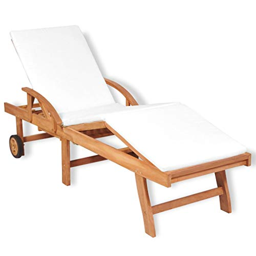 tidyard Sonnenliege Gartenliege mit Polsterauflage Teakholz Liege Relaxliege Liegestuhl Gartenmöbel Verstellbar Rückenlehne 195 x 59,5 x 35 cm für Garten, Terrasse oder Balkon